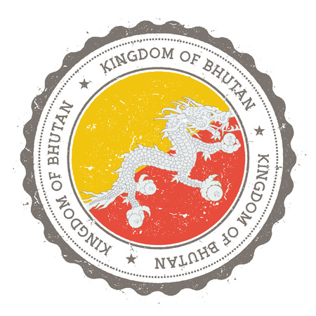 nationalist: Grunge rubber stamp with Bhutan flag.