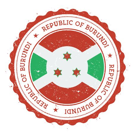 Grunge rubber stamp with Burundi flag.
