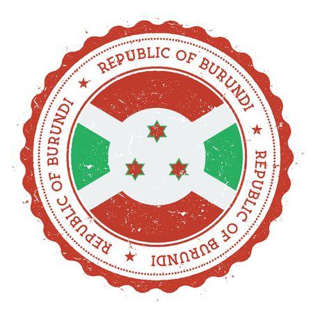 Grunge rubber stamp with Burundi flag.