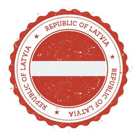 Grunge rubber stamp with Latvia flag Ilustração