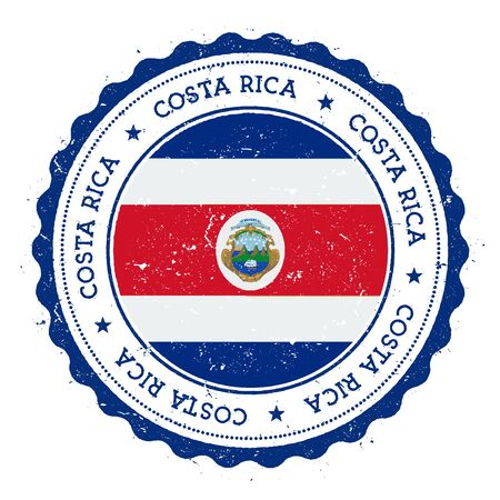 Grunge rubber stamp with Costa Rica flag. Vintage travel stamp with circular text, stars and national flag inside it Vector illustration.