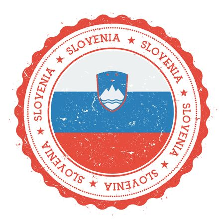 Grunge rubber stamp with Slovenia flag. Vintage travel stamp with circular text, stars and national flag inside it. Vector illustration.