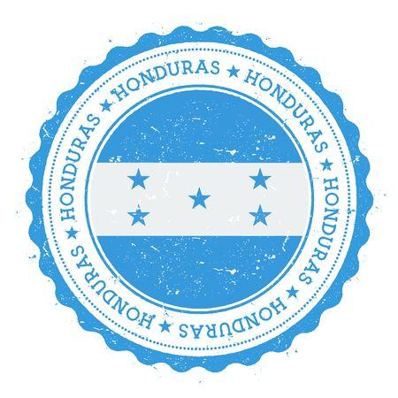 Grunge rubber stamp with Honduras flag.