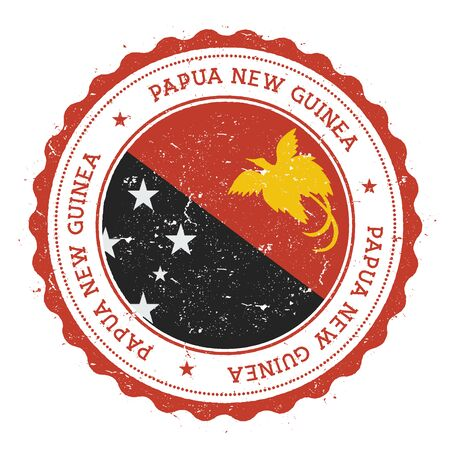 Grunge rubber stamp with Papua New Guinea flag. Vintage travel stamp with circular text, stars and national flag inside it. Vector illustration.
