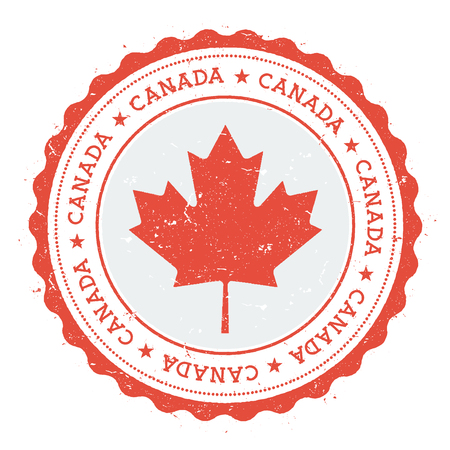 Grunge rubber stamp with Canada flag. Vintage travel stamp with circular text, stars and national flag inside it. Vector illustration.