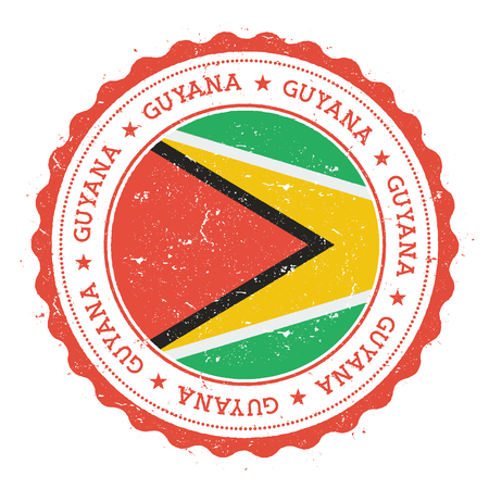Grunge rubber stamp with Guyana flag. Vintage travel stamp with circular text, stars and national flag inside it. Vector illustration.