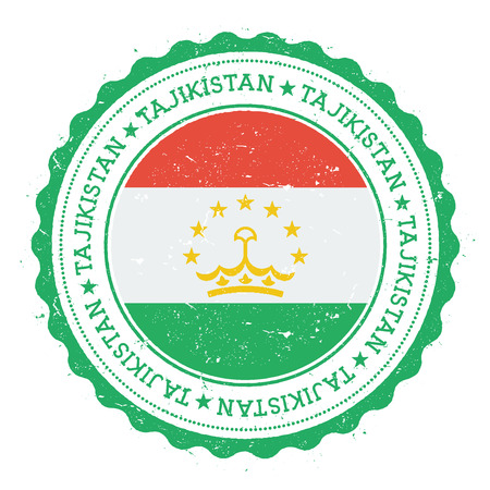Grunge rubber stamp with Tajikistan flag. Vintage travel stamp with circular text, stars and national flag inside it. Vector illustration.