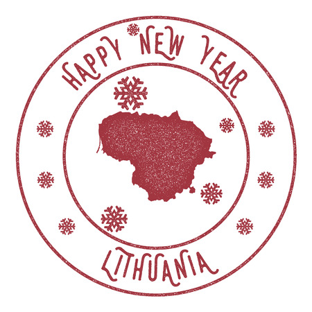 Retro Happy New Year Lithuania stamp. Illustration