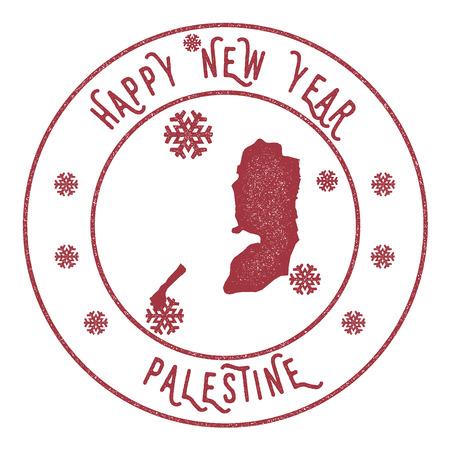 Retro Happy New Year Palestine stamp.