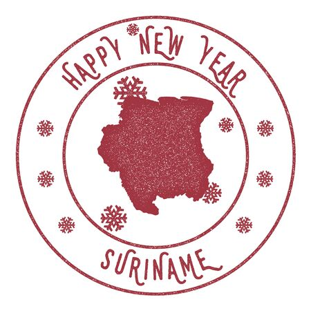 Happy New Year Suriname Stamp illustration. Illustration