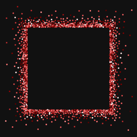 Red gold glitter. Square abstract border with red gold glitter on black background. Appealing Vector illustration.