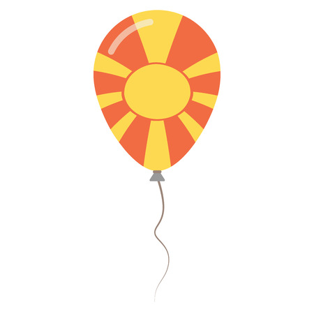 declaration of independence: Former Yugoslav Republic of Macedonia national colors isolated balloon on white background. Independence day patriotic poster. Flat style National day vector illustration.
