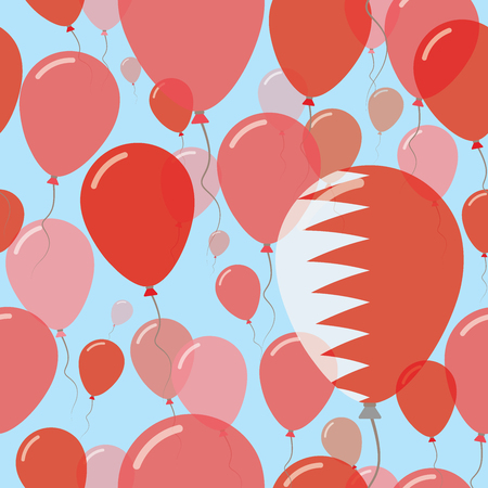 Bahrain National Day Flat Seamless Pattern. Flying Celebration Balloons in Colors of Bahraini Flag. Happy Independence Day Background with Flags and Balloons.