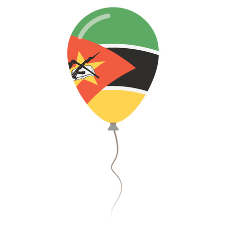Republic of Mozambique national colors isolated balloon on white background. Independence day patriotic poster. Flat style National day vector illustration. Illustration