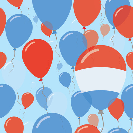 Luxembourg National Day Flat Seamless Pattern. Flying Celebration Balloons in Colors of Luxembourger Flag. Happy Independence Day Background with Flags and Balloons. Illustration