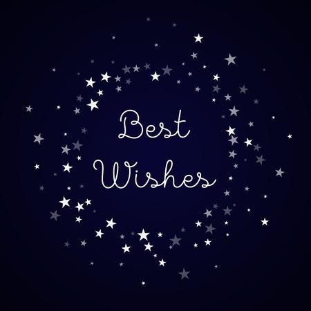 Best Wishes greeting card. Random falling stars background. Random falling stars on deep blue background.fine vector illustration. Illustration