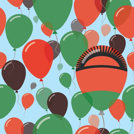 Malawi National Day Flat Seamless Pattern. Flying Celebration Balloons in Colors of Malawian Flag. Happy Independence Day Background with Flags and Balloons. Illustration