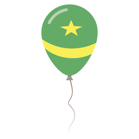 Islamic Republic of Mauritania national colors isolated balloon on white background. Independence day patriotic poster. Flat style National day vector illustration.