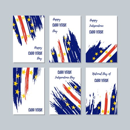 Cabo Verde Patriotic Cards for National Day. Expressive Brush Stroke in National Flag Colors on white card background. Cabo Verde Patriotic Vector Greeting Card.