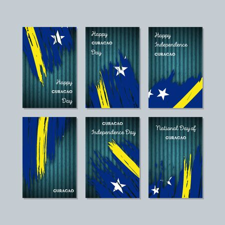Curacao Patriotic Cards for National Day. Expressive Brush Stroke in National Flag Colors on dark striped background. Curacao Patriotic Vector Greeting Card. Иллюстрация