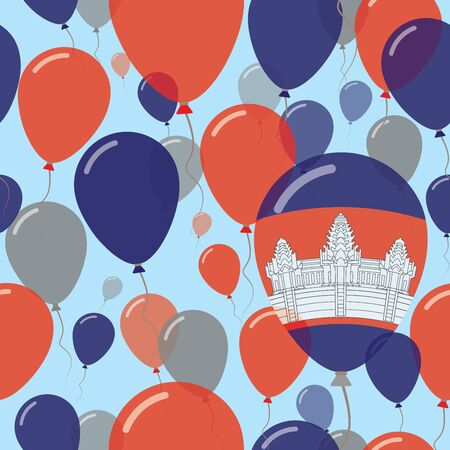 Cambodia National Day Flat Seamless Pattern. Flying Celebration Balloons in Colors of Cambodian Flag. Happy Independence Day Background with Flags and Balloons. Illustration