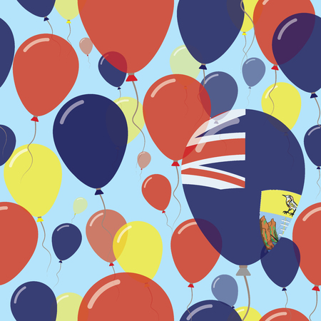Saint Helena National Day Flat Seamless Pattern. Flying Celebration Balloons in Colors of Saint Helenian Flag. Happy Independence Day Background with Flags and Balloons. Illustration
