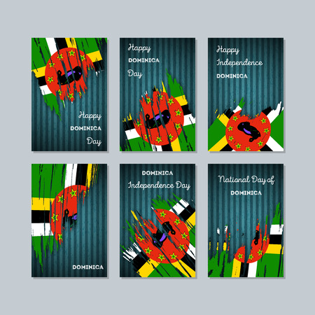 Dominica Patriotic Cards for National Day. Expressive Brush Stroke in National Flag Colors on dark striped background. Dominica Patriotic Vector Greeting Card.