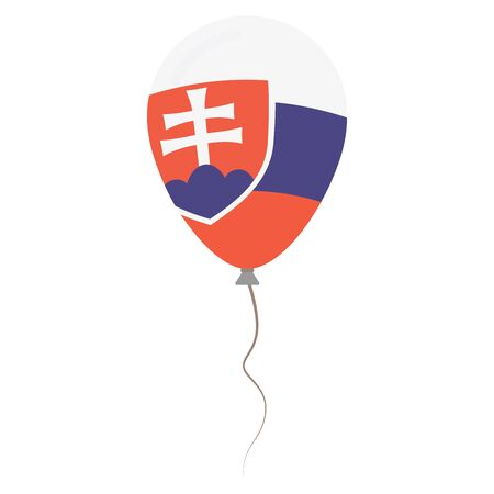 Slovak Republic national colors isolated balloon on white background. Independence day patriotic poster. Flat style National day vector illustration.