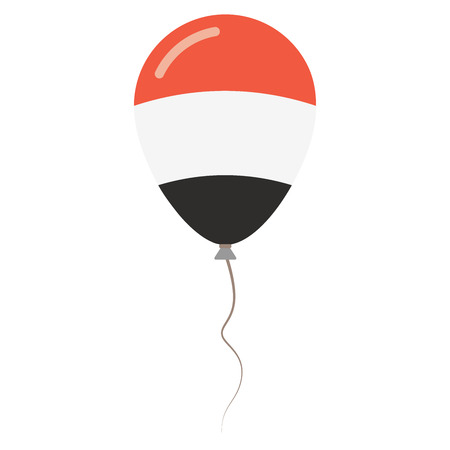 Republic of Yemen national colors isolated balloon on white background. Independence day patriotic poster. Flat style National day vector illustration.