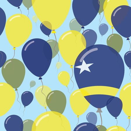 Curacao National Day Flat Seamless Pattern. Flying Celebration Balloons in Colors of Dutch Flag. Happy Independence Day Background with Flags and Balloons.