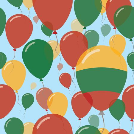 Lithuania National Day Flat Seamless Pattern. Flying Celebration Balloons in Colors of Lithuanian Flag. Happy Independence Day Background with Flags and Balloons.