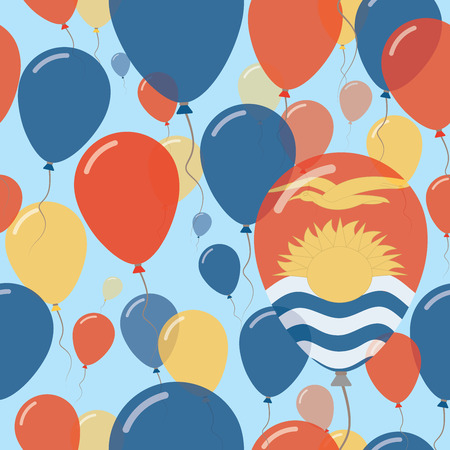 Kiribati National Day Flat Seamless Pattern. Flying Celebration Balloons in Colors of I-Kiribati Flag. Happy Independence Day Background with Flags and Balloons.