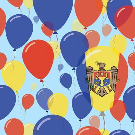 Moldova, Republic of National Day Flat Seamless Pattern. Flying Celebration Balloons in Colors of Moldovan Flag. Happy Independence Day Background with Flags and Balloons.