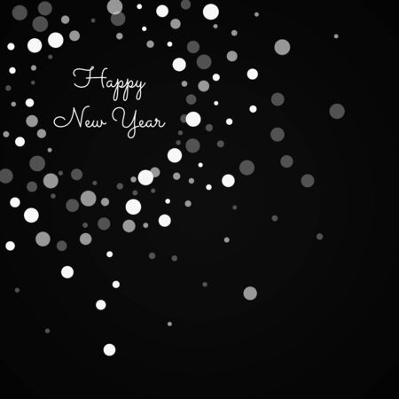 Happy New Year greeting card. Falling white dots on black background. Beautiful vector illustration. Illustration