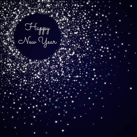 Happy New Year greeting card. Amazing falling stars background. Amazing falling stars on deep blue background. Beautiful vector illustration. Иллюстрация