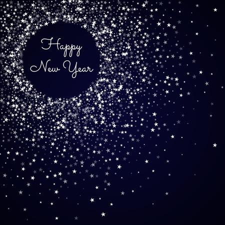 Happy New Year greeting card. Amazing falling stars background. Amazing falling stars on deep blue background. Beautiful vector illustration. Illustration