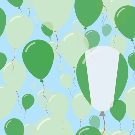 Nigeria National Day Flat Seamless Pattern. Flying Celebration Balloons in Colors of Nigerian Flag. Happy Independence Day Background with Flags and Balloons.