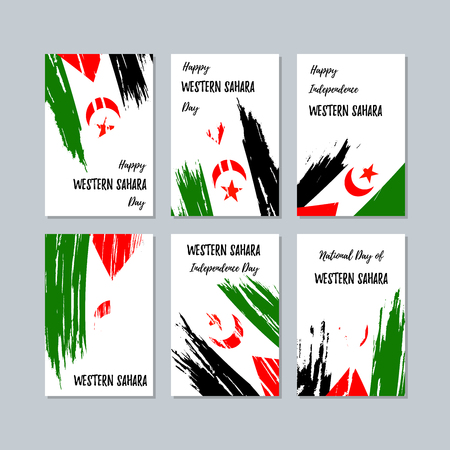 Western Sahara Patriotic Cards for National Day. Expressive Brush Stroke in National Flag Colors on white card background. Western Sahara Patriotic Vector Greeting Card. Ilustrace