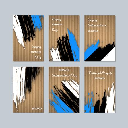 Estonia Patriotic Cards for National Day. Expressive Brush Stroke in National Flag Colors on kraft paper background. Estonia Patriotic Vector Greeting Card.