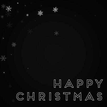 Happy Christmas greeting card. Sparse snowfall background. Sparse snowfall on black background. Delightful vector illustration.