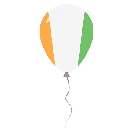Republic of Ivory Coast national colors isolated balloon on white background. Independence day patriotic poster. Flat style National day vector illustration. Ilustração