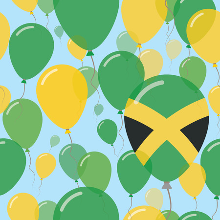 Jamaica National Day Flat Seamless Pattern. Flying Celebration Balloons in Colors of Jamaican Flag. Happy Independence Day Background with Flags and Balloons. Illustration