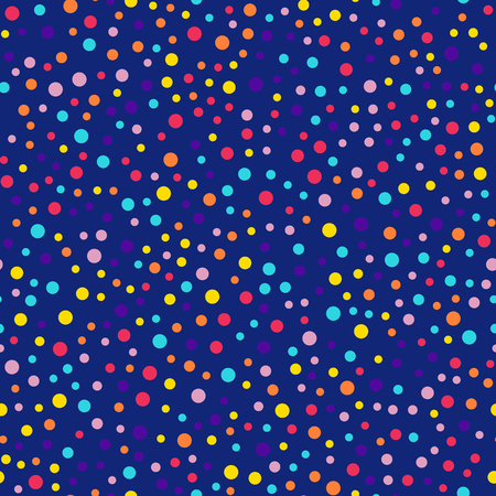 Memphis style polka dots seamless pattern on dark blue background. Nice modern memphis polka dots creative pattern. Bright scattered confetti fall chaotic decor. Vector illustration.