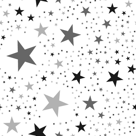 Black stars seamless pattern on white background. Unusual endless random scattered black stars festive pattern. Modern creative chaotic decor. Vector abstract illustration.