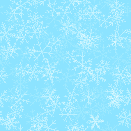Transparent snowflakes seamless pattern on turquoise Christmas background. Chaotic scattered transparent snowflakes. Alluring Christmas creative pattern. Vector illustration.