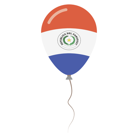 para: Republic of Paraguay national colors isolated balloon on white background. Independence day patriotic poster. Flat style National day vector illustration.
