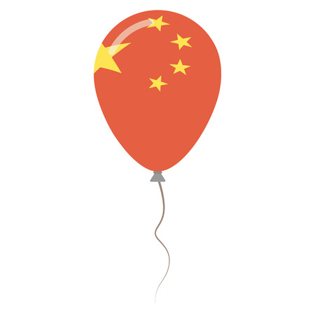 Peoples Republic of China national colors isolated balloon on white background. Independence day patriotic poster. Flat style National day vector illustration.