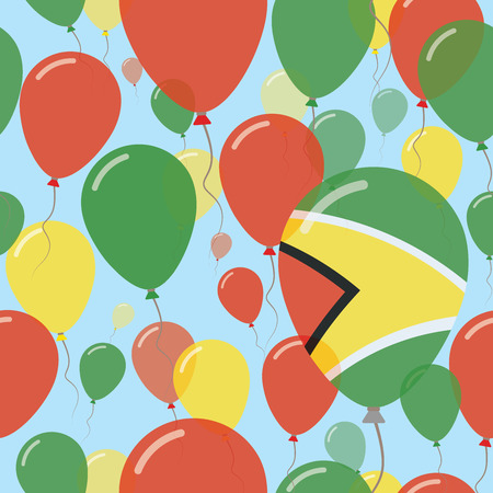 Guyana National Day Flat Seamless Pattern. Flying Celebration Balloons in Colors of Guyanese Flag. Happy Independence Day Background with Flags and Balloons. Illustration