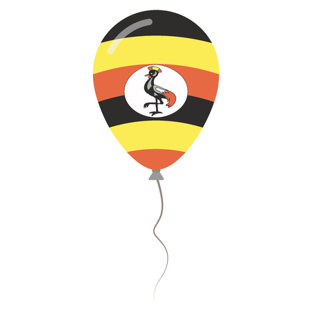 Republic of Uganda national colors isolated balloon on white background. Independence day patriotic poster. Flat style National day vector illustration.