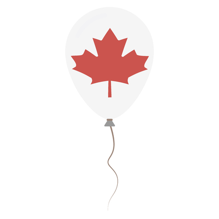 Canada national colors isolated balloon on white background. Independence day patriotic poster. Flat style National day vector illustration. Illustration